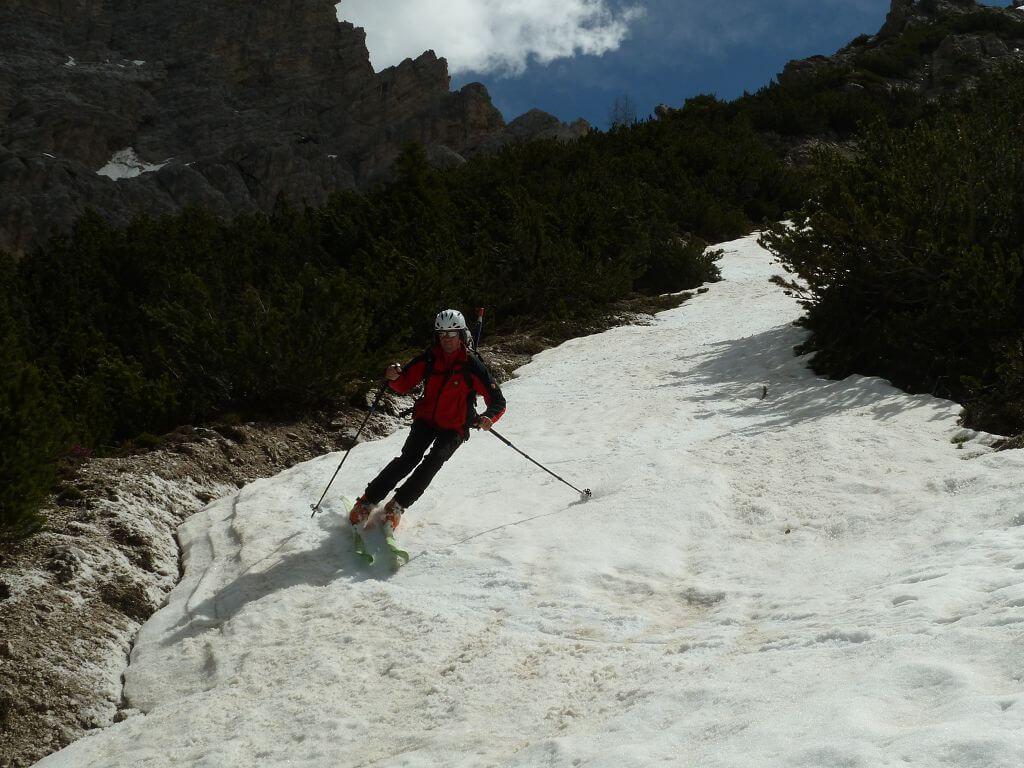 Antelao, über die letzten Schneefelder zum Rif. Scotter